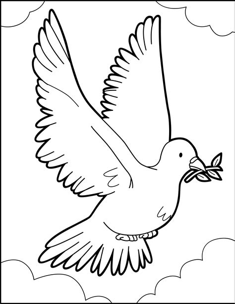 Peace Dove Coloring Page by The Flight Of Dove Peace Coloring Pages Okids Coloring