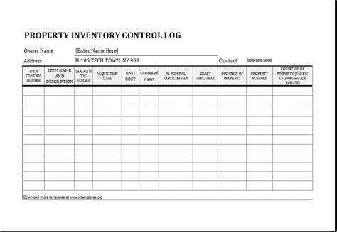 Property Inventory Log Template for EXCEL   Excel Templates