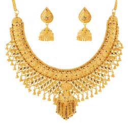 Chandelier Pendant Necklace Bridal Necklace With Meenakari Stbr4638 22kt Gold