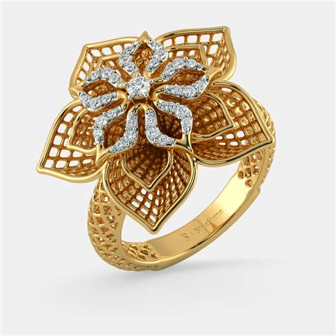 Ringe Gold by The Daffodil Lattice Ring Bluestone