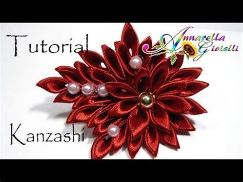 fiori con i nastri tutorial fiore kanzashi per capelli kanzashi con nastro