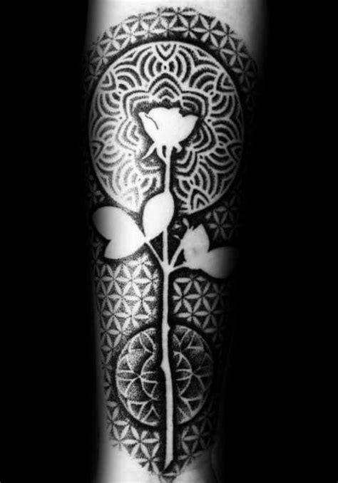 40 Geometric Rose Tattoo Designs For Men - Flower Ink Ideas