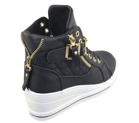 Sneaker Wedges Ankle Autunum Black womens wedge trainers quilted ankle boots sneakers