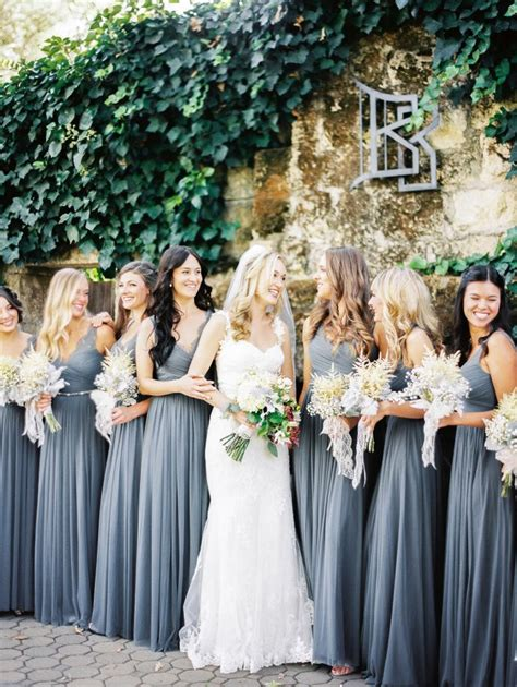 Novel Bridesmaids fall wedding among the redwoods grey bridesmaid dresses gray bridesmaids and black books