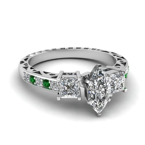 marquise shaped vintage 3 engagement ring