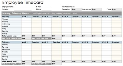 time card tracker template employee timecard template daily weekly monthly and