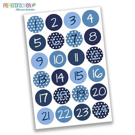 Aufkleber Adventskalender by 24 Adventskalender Zahlen Aufkleber Blaue Zahlen Nr 02