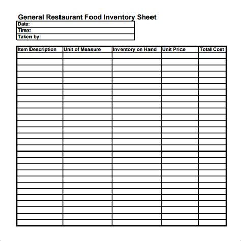 Free Restaurant Inventory Spreadsheet by Best Photos Of Restaurant Food Inventory Sheet