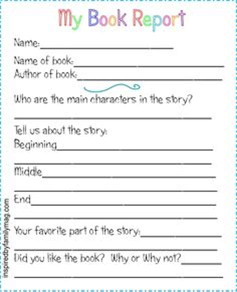 free printable book report form at artsyfartsymama