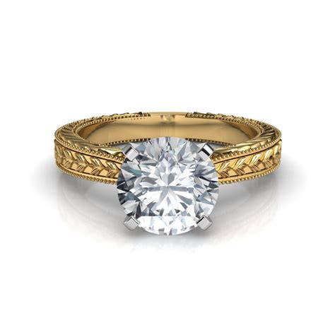 Engraved Solitaire Engagement Ring In 18k Yellow Gold by Engraved Solitaire Engagement Ring In 14k