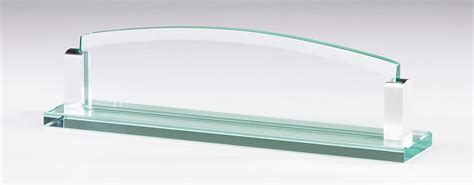 glass name plates for desk award specialties glass name plate and business card holder