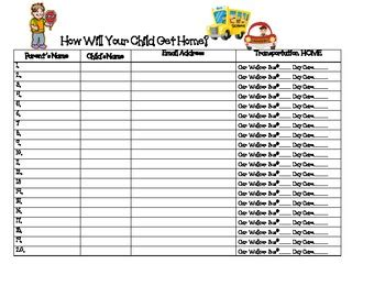 back to school sign in sheet template back to school how will your child get home sign in