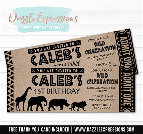 printable zoo animal invitations printable african safari animal ticket birthday invitation