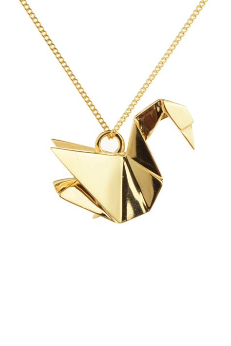 Origami Swan Necklace - origami jewelry swan necklace from bastille by corner des