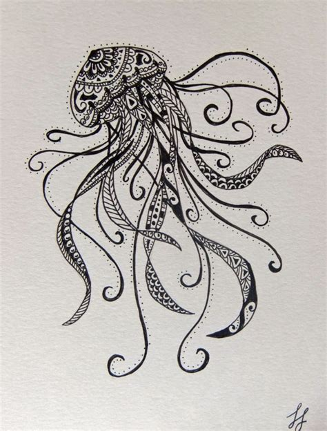 tattoo mandala fish items similar to jellyfish zentangle style drawing on etsy