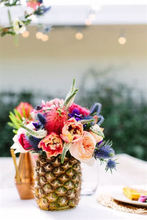 Pineapple Decorations by Our Floral Tablescape In Palm Springs Pineapple