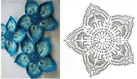 fiore a uncinetto schema fiore piatto cinque petali schema uncinetto magiedifilo