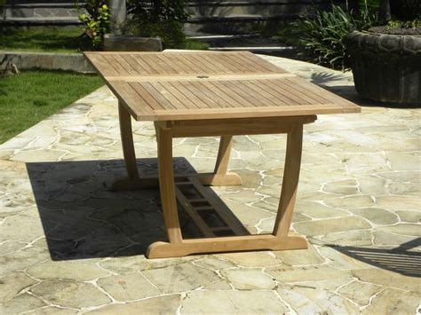 rectangular extending teak garden table borneo