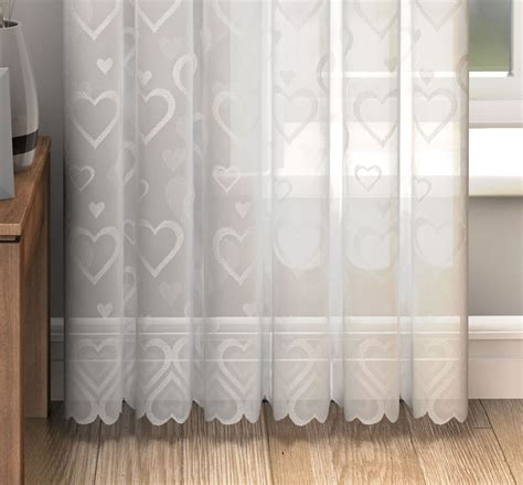 voile door curtain love hearts lace slot top sheer voile rod pocket window