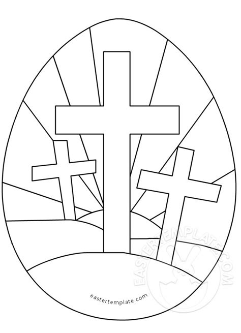 religious card template for to color easter egg with three crosses coloring page easter template