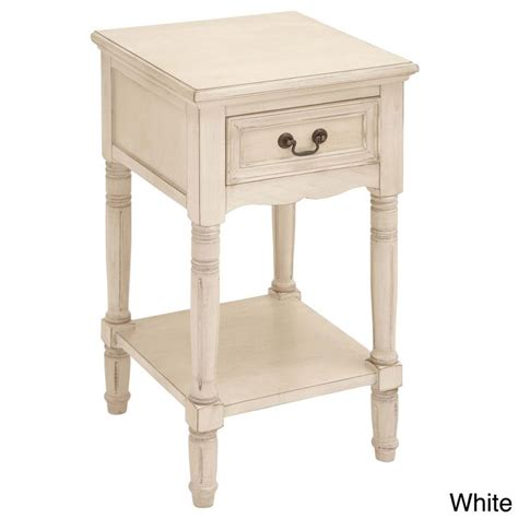 White Nightstands Casa Cortes Antiqued White Solid Wood Stand