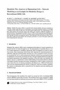 Target Market Analysis Essay by Metabolic Flux Analysis In Mammalian Cells Network