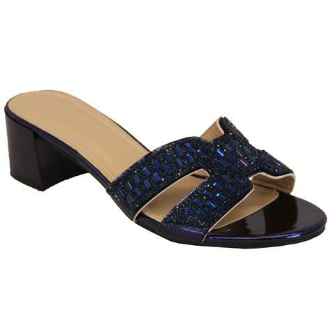 diamante bridesmaid sandals open toe slip on block
