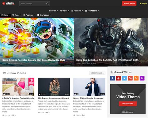 videopro theme 20 best video website wordpress themes web graphic