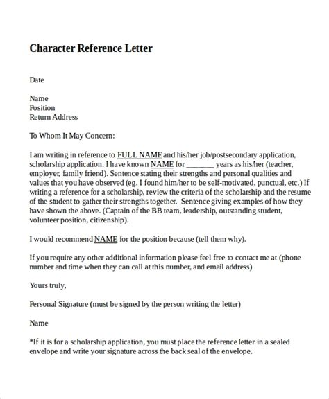 12 Sle Character Reference Letter Templates Pdf Doc Free Premium Templates Sle Character Reference Letter For A Friend Template