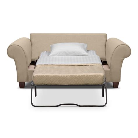 Cream Color Leather Twin Size Sleeper Sofa With White Fold Sofa Sleeper Bed