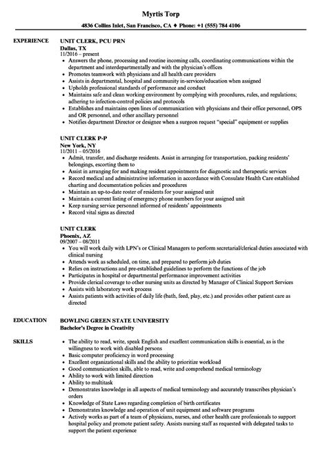 Unit Resume by Unit Clerk Resume Sles Velvet