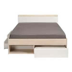 cadre de lit 224 tiroirs t 234 te de lit 160 200 acacia blanc