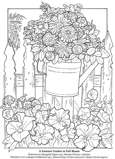 garden coloring pages free printable dover publications a printable flower garden pic to