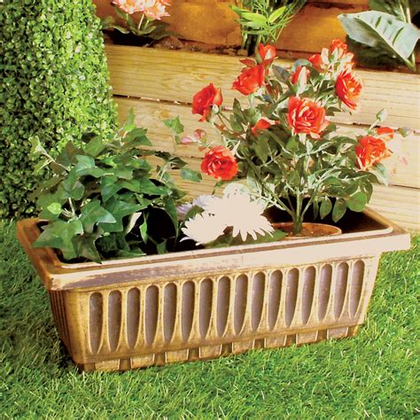 Black Garden Planters by 4 Garden Plant Pots Black Bronze Gold Rectangular