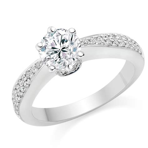 White Gold Rings by Cut 0 69 Carat Side Stones Engagement Ring 18k White