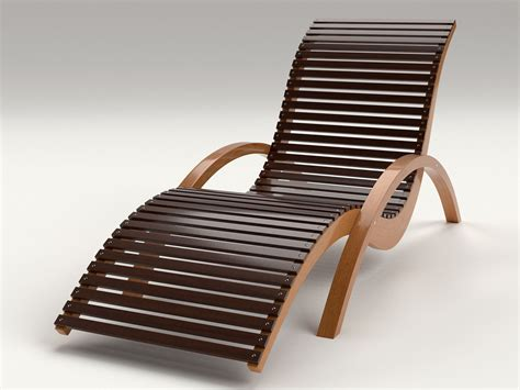 Outdoor Lounge Chair by Lounge Chair Outdoor Wood Patio Deck 3d Model Obj Mtl