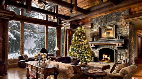 hd christmas tree log cabin screensaver scene fire crackling sound cosy living room snow