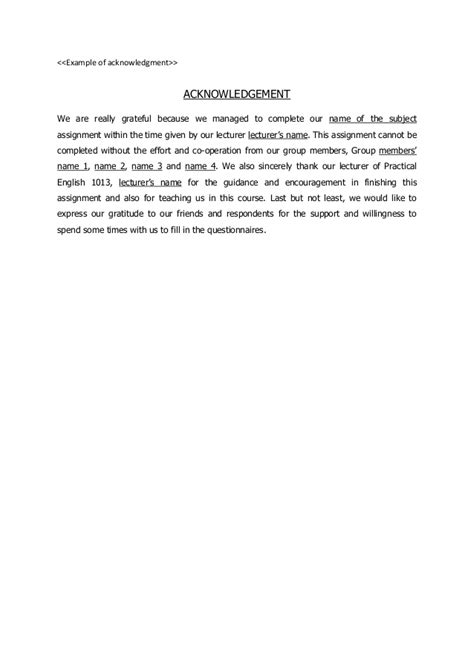 Acknowledgement Letter For Project Write Acknowledgement Dissertation Sle
