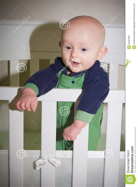 Baby Standing In Crib Royalty Free Stock Photo Image Baby Standing In Crib