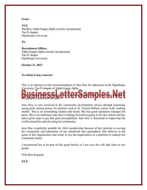 recommendation letter sle sle letter of recommendation for aka sorority sle letter