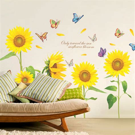 sunflower wall stickers blooming sunflower blossom butterfly removable wall decal stickers home room diy ebay