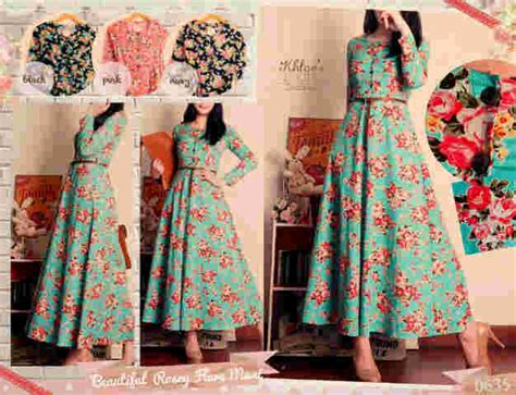 Dress Blaster Bahan Katun Spandex restock limited stock 0635 beautiful rosey flare maxi