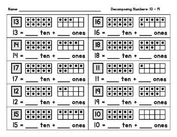 decomposing numbers   assessment student  tens