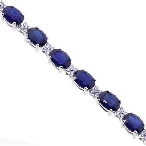 Blue Sapphire Bracelet 18k white gold 19 63 ct blue sapphire womens bracelet