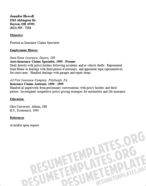 Thank You Letter For Insurance Claim An Insurance Claims Adjuster Resume Template For Free