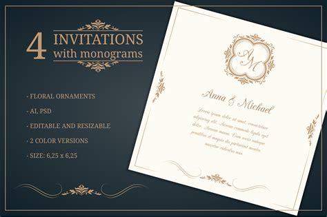 wedding invitations  monograms wedding templates