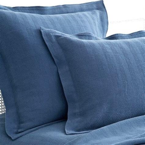 Denim Pillow Shams by Pine Cone Hill Herringbone Matelasse Denim Pillow Sham