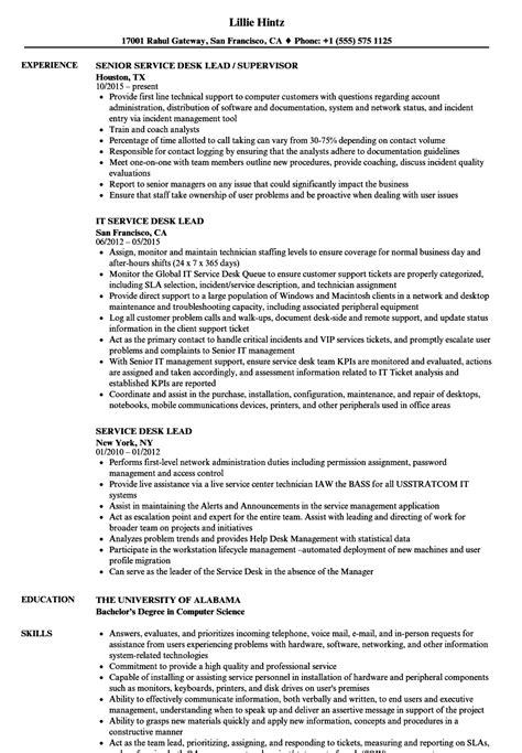 service desk lead resume sles velvet