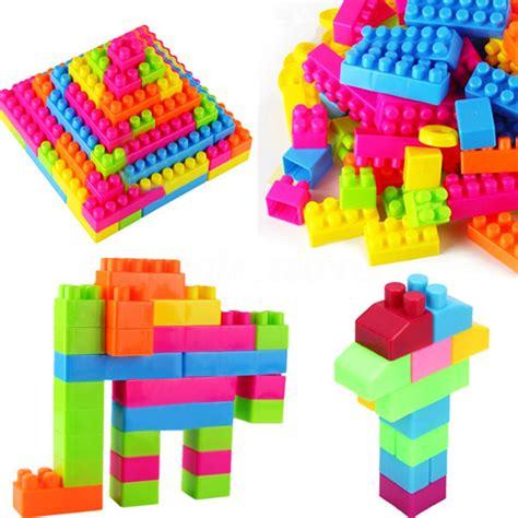 Pack Of 46 Plastic Puzzle Educational Building Blocks Bricks Children 80pcs plastic children kid puzzle educational building blocks bricks animal ebay