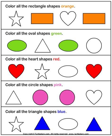 shapes and colors identify and color shapes worksheet turtle diary